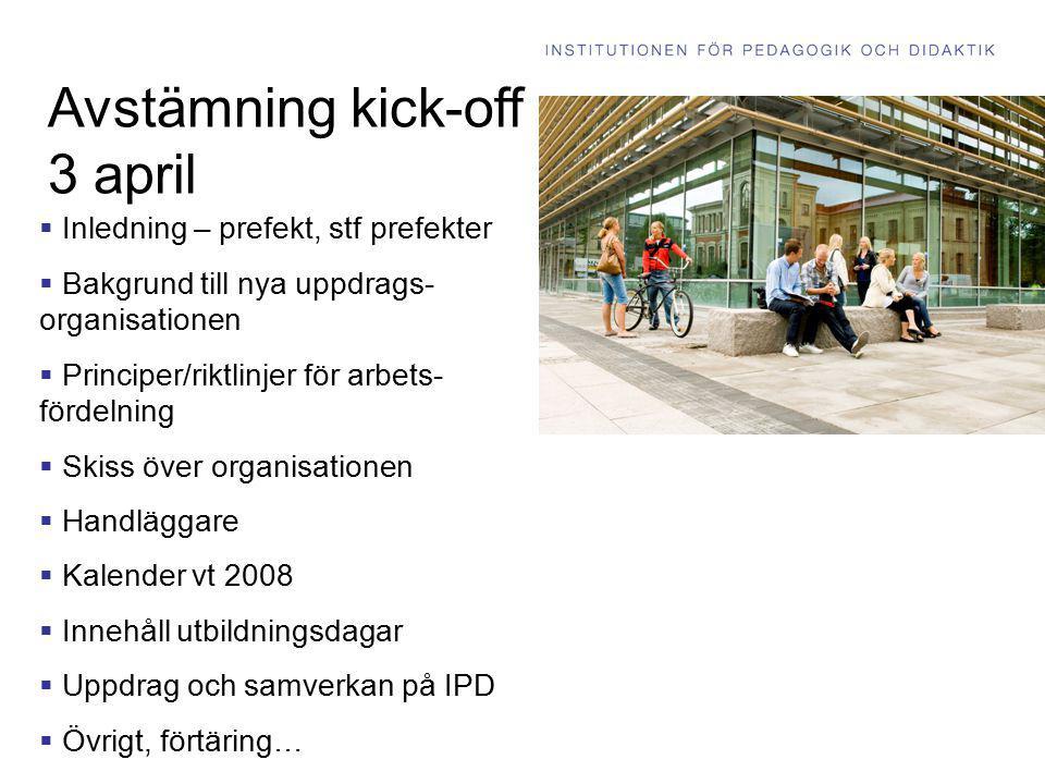 Avstämning kick-off 3 april  Inledning – prefekt, stf prefekter  Bakgrund till nya uppdrags- organisationen  Principer/riktlinjer för arbets- förde