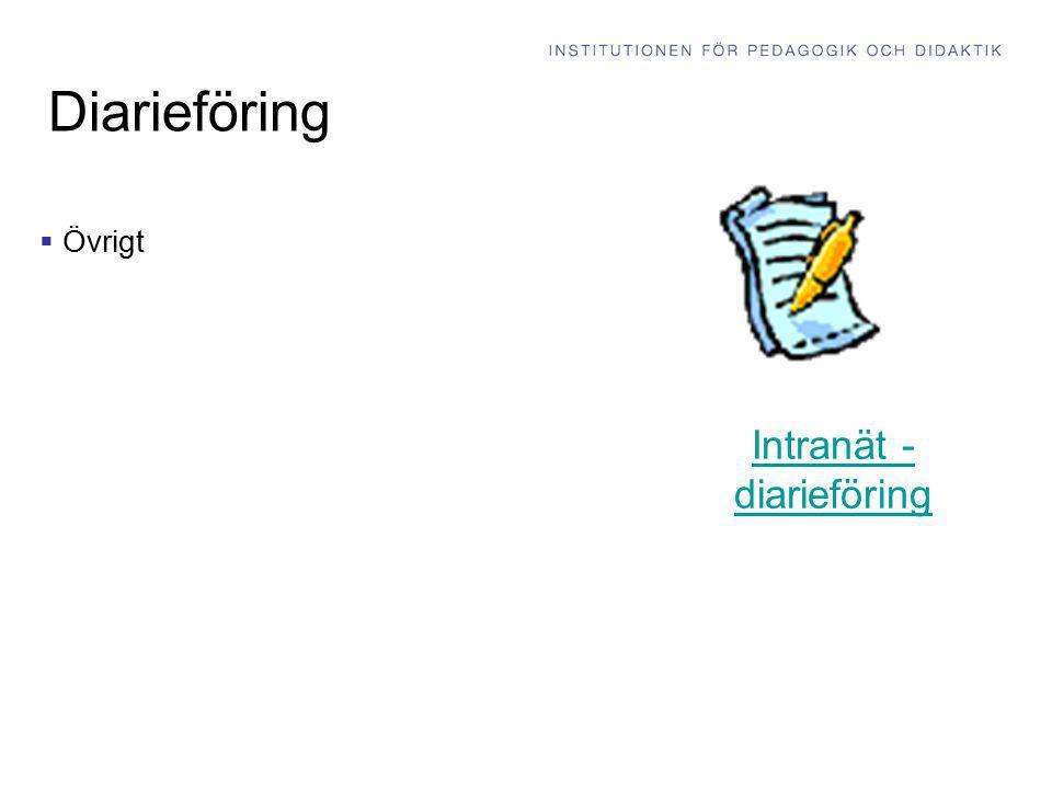 Diarieföring  Övrigt Intranät - diarieföring