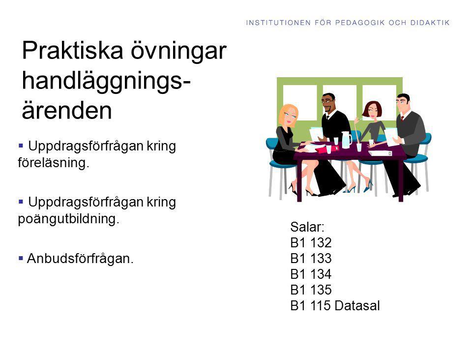 Praktiska övningar handläggnings- ärenden  Uppdragsförfrågan kring föreläsning.  Uppdragsförfrågan kring poängutbildning.  Anbudsförfrågan. Salar: