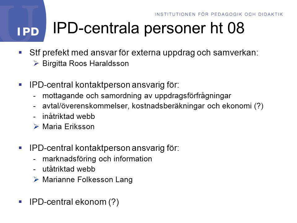 IPD-centrala personer ht 08  Stf prefekt med ansvar för externa uppdrag och samverkan:  Birgitta Roos Haraldsson  IPD-central kontaktperson ansvari
