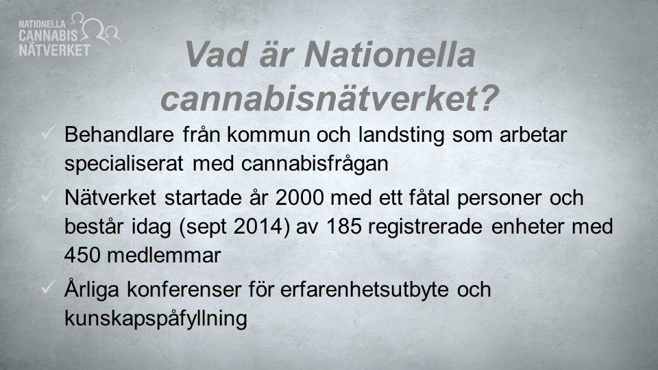 Vad är Nationella cannabisnätverket? Behandlare från kommun och landsting som arbetar specialiserat med cannabisfrågan Nätverket startade år 2000 med