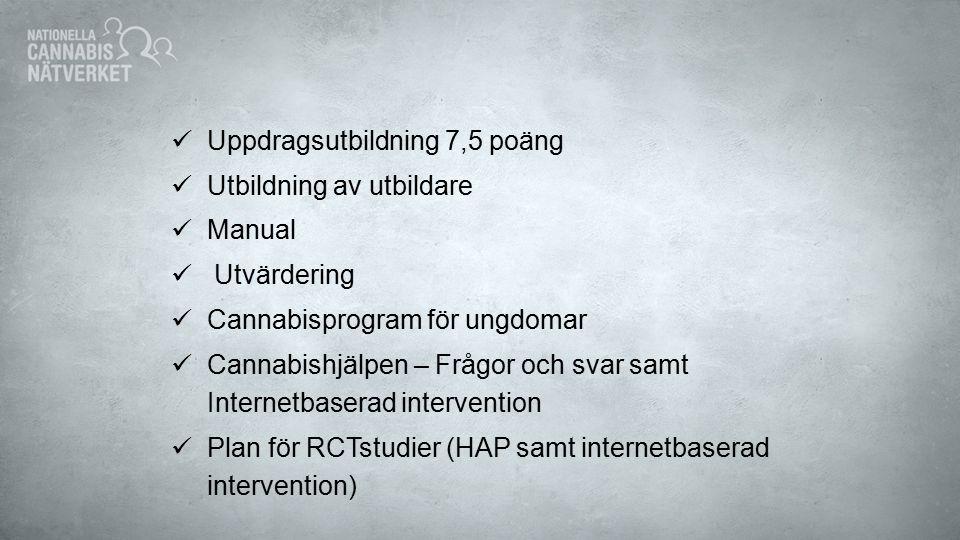 Projektåren 2012 - 2014 Internetbaserad intervention Cannabishjälpen Tidiga interventioner Inventering och sammanställning Kunskapsspridning Nationella konferenser, regionala- och lokala utbildningar + undervisningsfilm