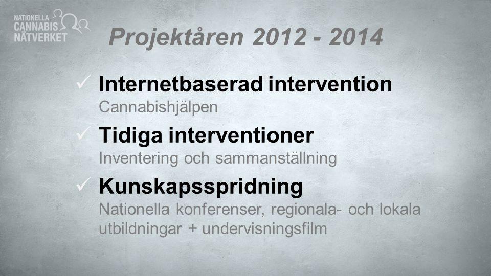 Projektåren 2012 - 2014 Internetbaserad intervention Cannabishjälpen Tidiga interventioner Inventering och sammanställning Kunskapsspridning Nationell