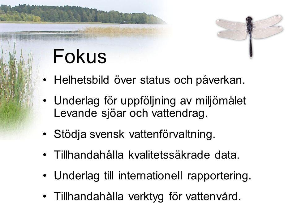 Helhetsbild över status och påverkan. Underlag för uppföljning av miljömålet Levande sjöar och vattendrag. Stödja svensk vattenförvaltning. Tillhandah