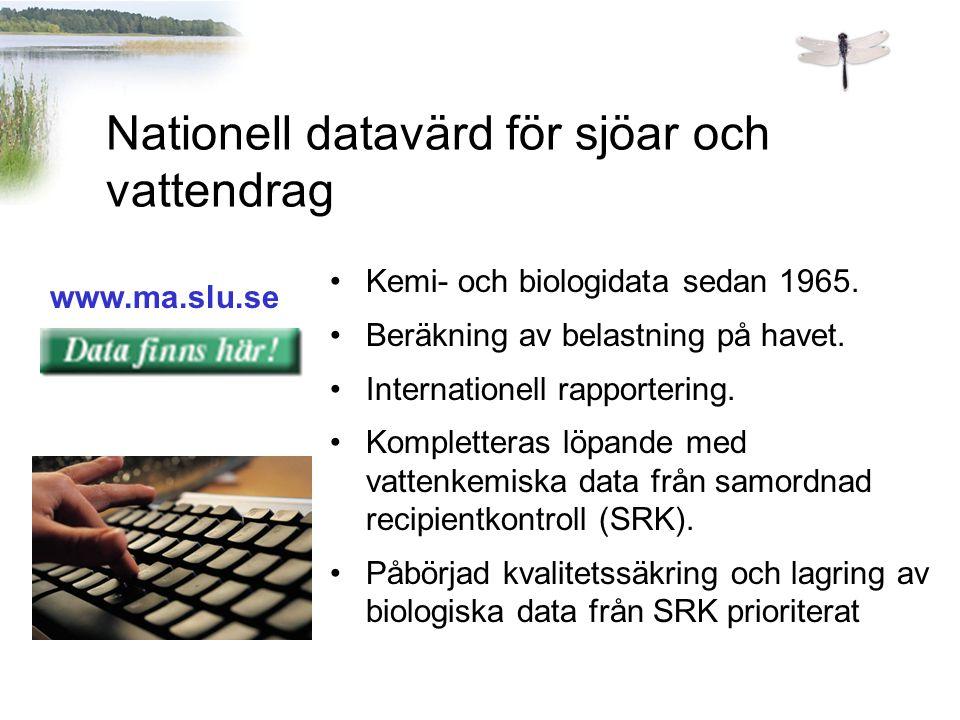 www.ma.slu.se Nationell datavärd för sjöar och vattendrag Kemi- och biologidata sedan 1965. Beräkning av belastning på havet. Internationell rapporter