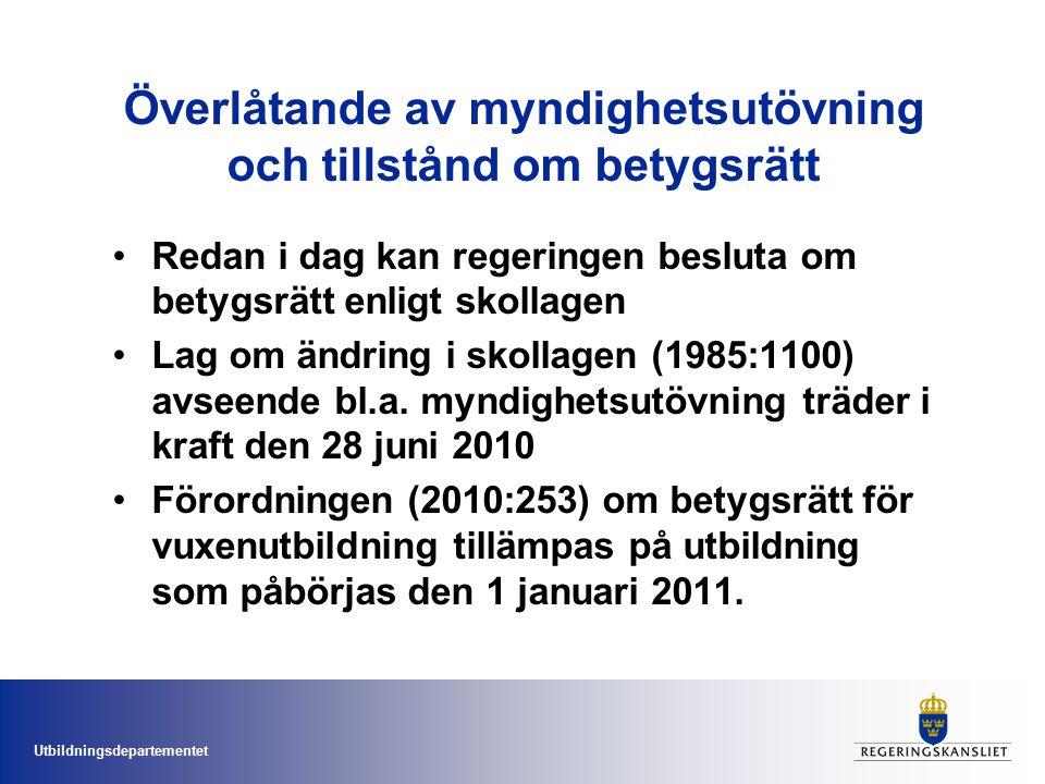 Utbildningsdepartementet Överlåtande av myndighetsutövning och tillstånd om betygsrätt Redan i dag kan regeringen besluta om betygsrätt enligt skollagen Lag om ändring i skollagen (1985:1100) avseende bl.a.