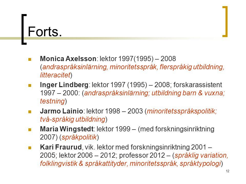 12 Forts. Monica Axelsson: lektor 1997(1995) – 2008 (andraspråksinlärning, minoritetsspråk, flerspråkig utbildning, litteracitet) Inger Lindberg: lekt