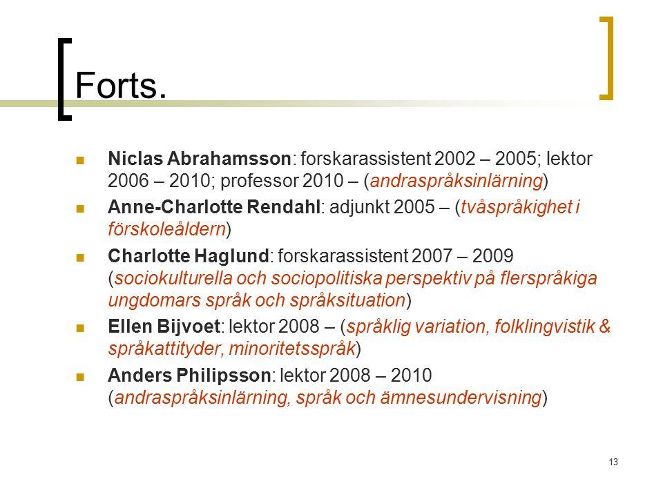 13 Forts. Niclas Abrahamsson: forskarassistent 2002 – 2005; lektor 2006 – 2010; professor 2010 – (andraspråksinlärning) Anne-Charlotte Rendahl: adjunk