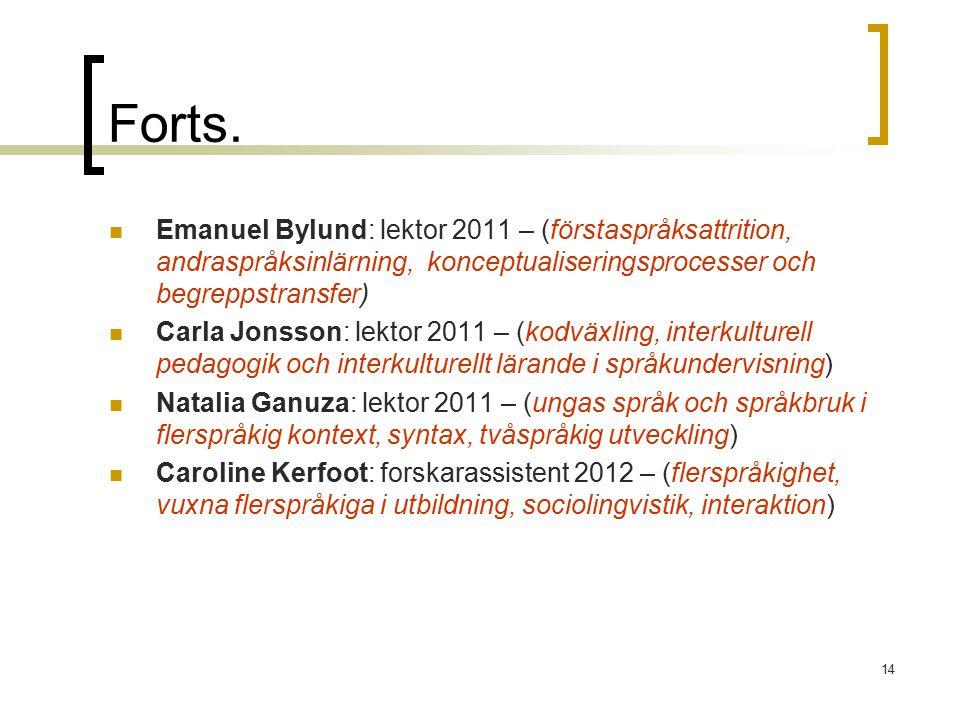 Forts. Emanuel Bylund: lektor 2011 – (förstaspråksattrition, andraspråksinlärning, konceptualiseringsprocesser och begreppstransfer) Carla Jonsson: le