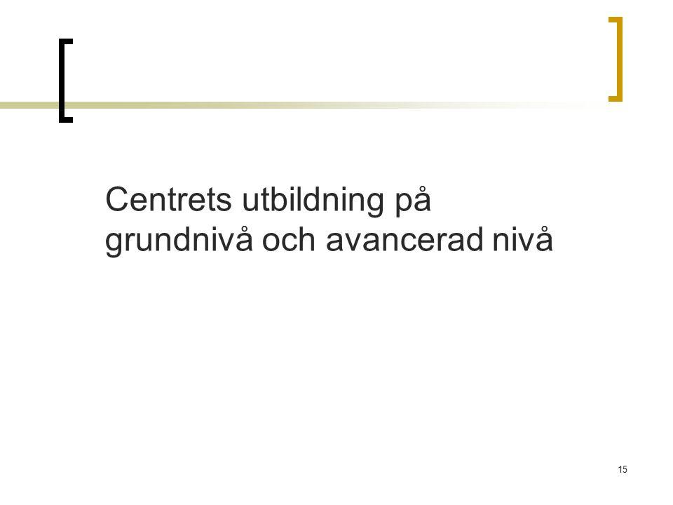 15 Centrets utbildning på grundnivå och avancerad nivå