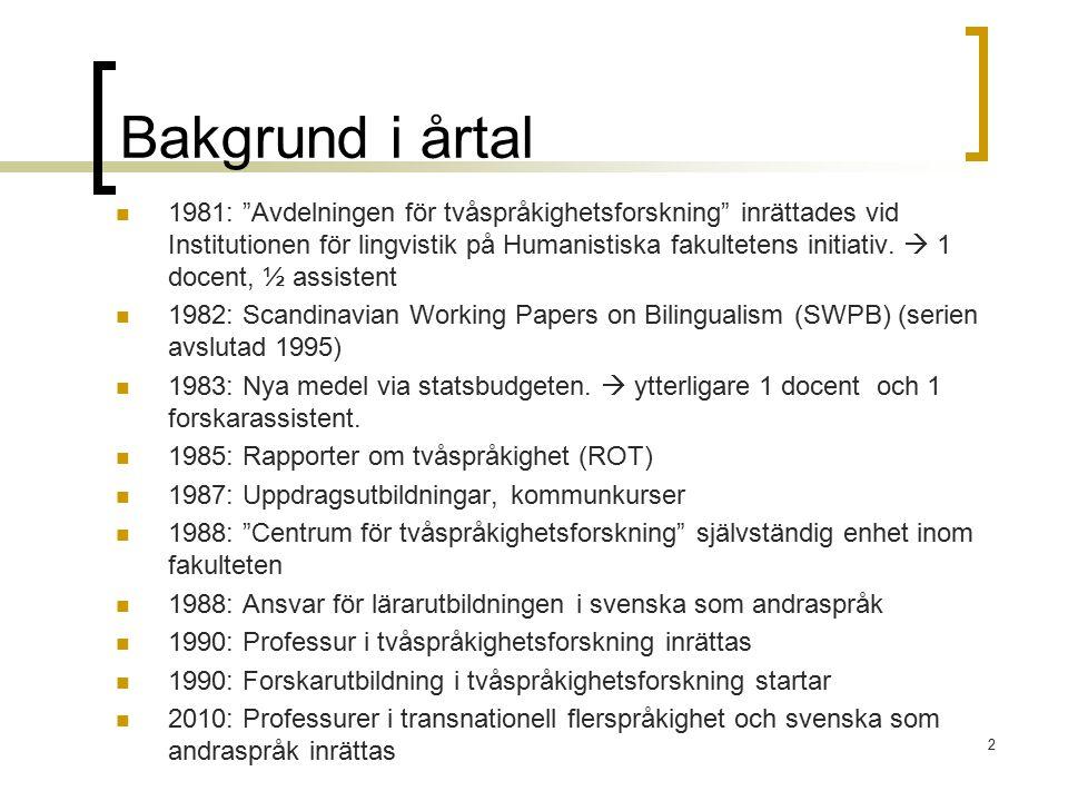 """Bakgrund i årtal 1981: """"Avdelningen för tvåspråkighetsforskning"""" inrättades vid Institutionen för lingvistik på Humanistiska fakultetens initiativ. """