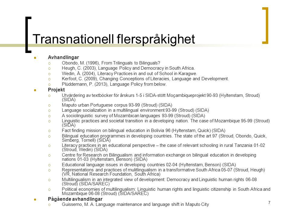 8 Språkattrition och återinlärning Avhandlingar  Yukawa, E.