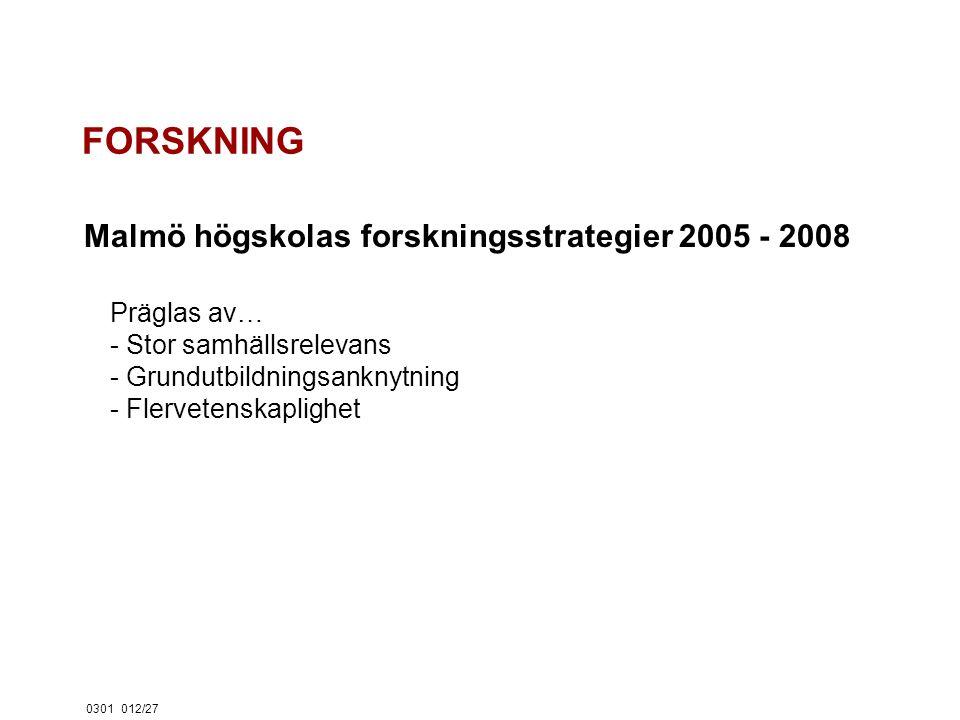 0301012/27 FORSKNING Malmö högskolas forskningsstrategier 2005 - 2008 Präglas av… - Stor samhällsrelevans - Grundutbildningsanknytning - Flervetenskaplighet