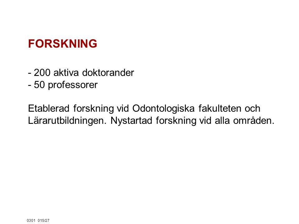 0301015/27 FORSKNING - 200 aktiva doktorander - 50 professorer Etablerad forskning vid Odontologiska fakulteten och Lärarutbildningen.