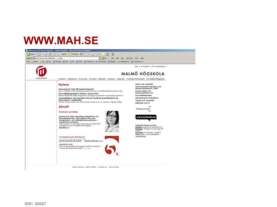 0301025/27 WWW.MAH.SE