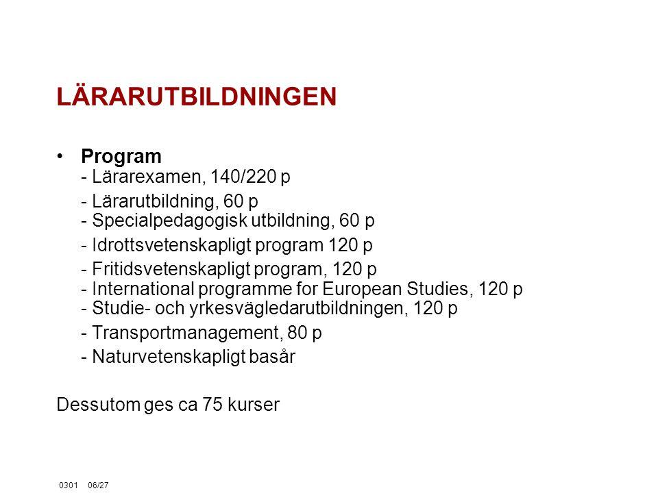 030106/27 LÄRARUTBILDNINGEN Program - Lärarexamen, 140/220 p - Lärarutbildning, 60 p - Specialpedagogisk utbildning, 60 p - Idrottsvetenskapligt program 120 p - Fritidsvetenskapligt program, 120 p - International programme for European Studies, 120 p - Studie- och yrkesvägledarutbildningen, 120 p - Transportmanagement, 80 p - Naturvetenskapligt basår Dessutom ges ca 75 kurser