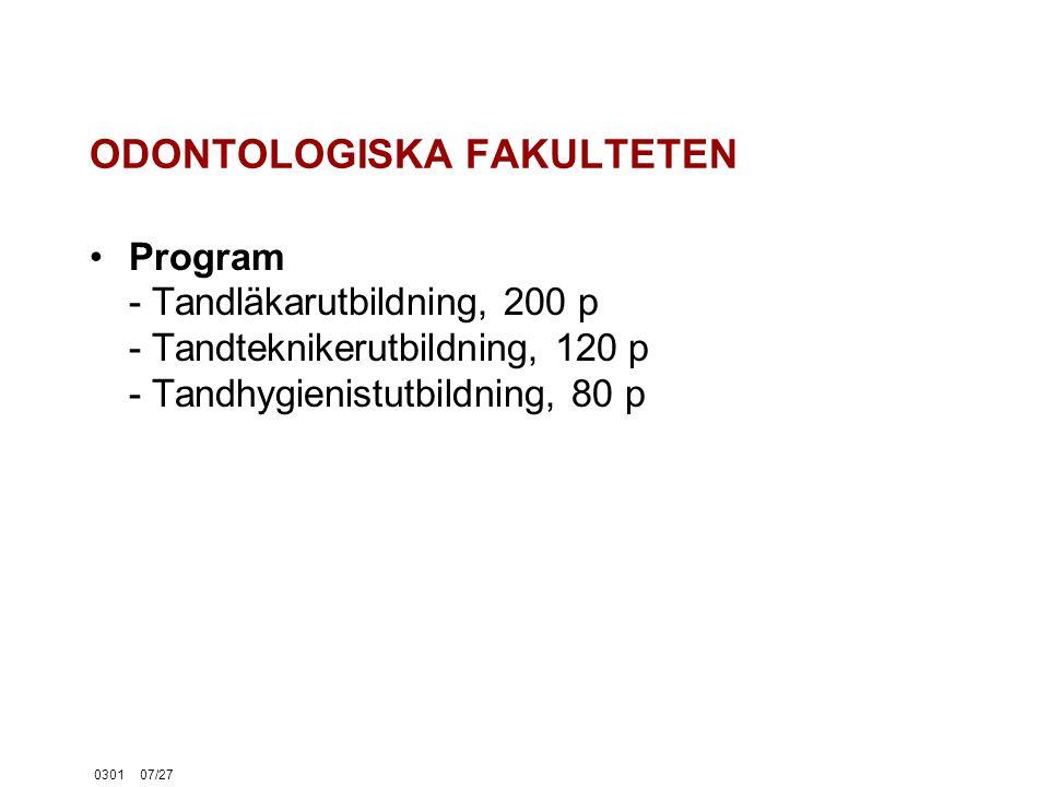 030107/27 ODONTOLOGISKA FAKULTETEN Program - Tandläkarutbildning, 200 p - Tandteknikerutbildning, 120 p - Tandhygienistutbildning, 80 p