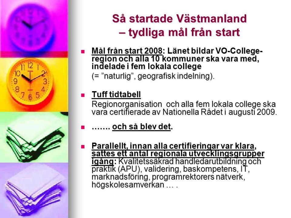 Så startade Västmanland – tydliga mål från start Mål från start 2008: Länet bildar VO-College- region och alla 10 kommuner ska vara med, indelade i fe