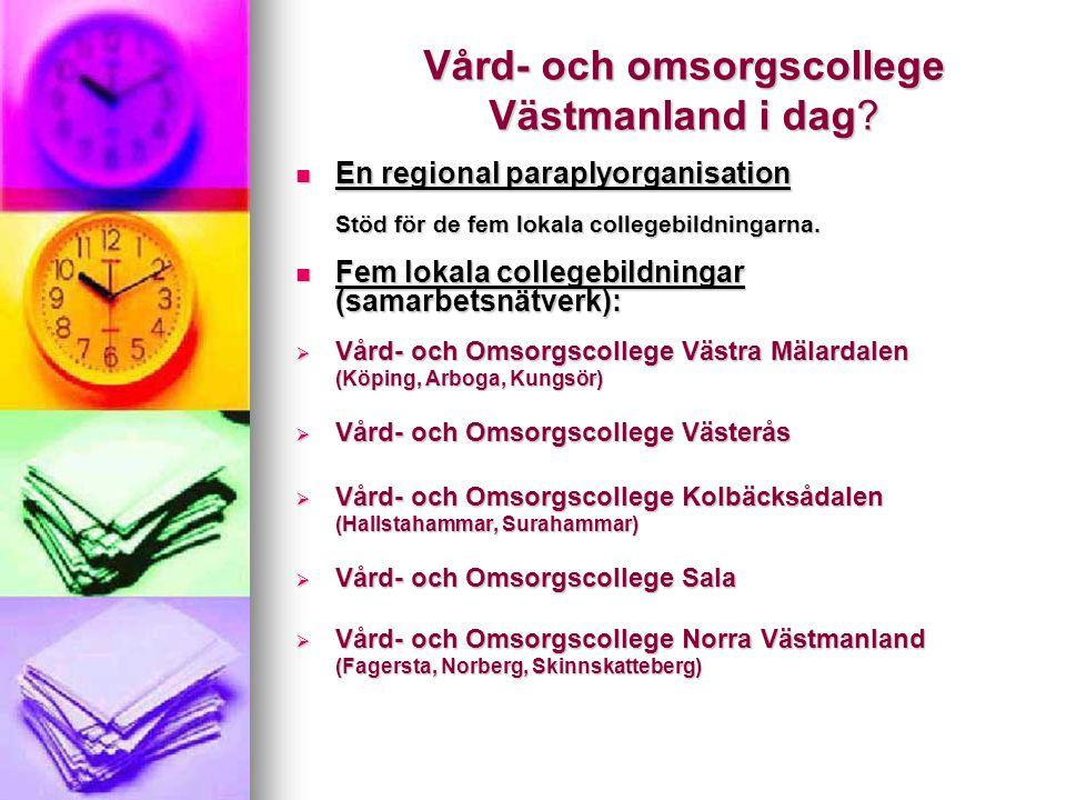 Vård- och omsorgscollege Västmanland i dag? En regional paraplyorganisation En regional paraplyorganisation Stöd för de fem lokala collegebildningarna