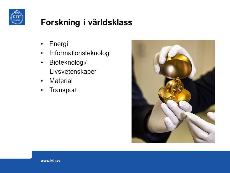 Energi Informationsteknologi Bioteknologi/ Livsvetenskaper Material Transport Forskning i världsklass www.kth.se