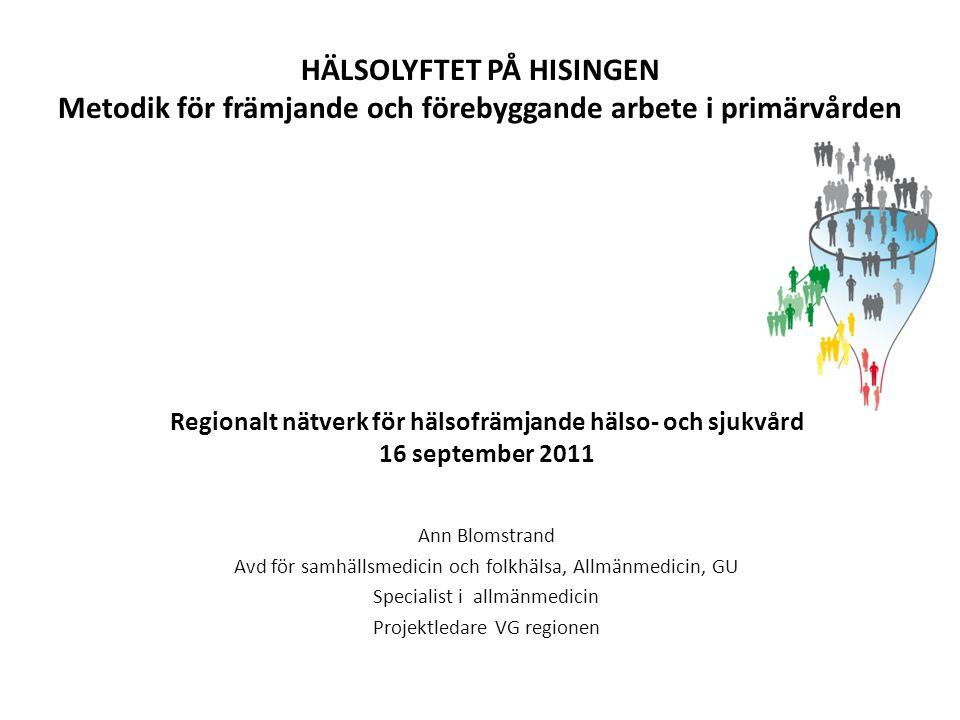 Regionalt nätverk för hälsofrämjande hälso- och sjukvård 16 september 2011 Ann Blomstrand Avd för samhällsmedicin och folkhälsa, Allmänmedicin, GU Spe