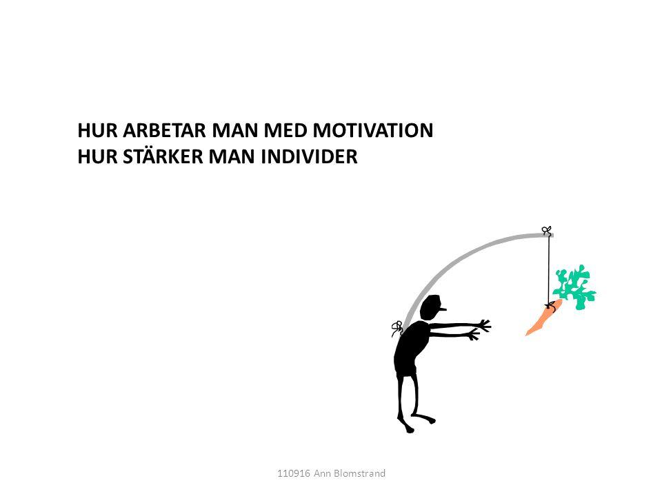 HUR ARBETAR MAN MED MOTIVATION HUR STÄRKER MAN INDIVIDER 110916 Ann Blomstrand