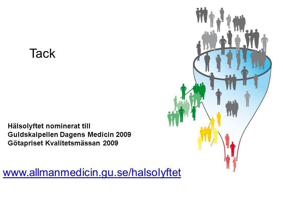 www.allmanmedicin.gu.se/halsolyftet Hälsolyftet nominerat till Guldskalpellen Dagens Medicin 2009 Götapriset Kvalitetsmässan 2009 Tack