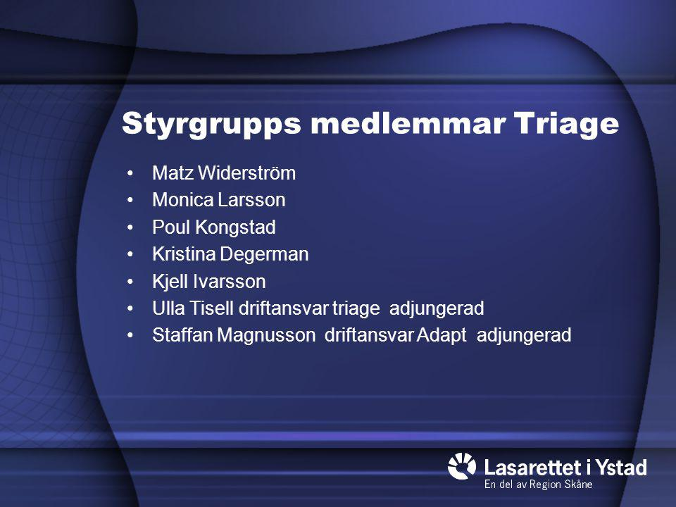 Styrgrupps medlemmar Triage Matz Widerström Monica Larsson Poul Kongstad Kristina Degerman Kjell Ivarsson Ulla Tisell driftansvar triage adjungerad St