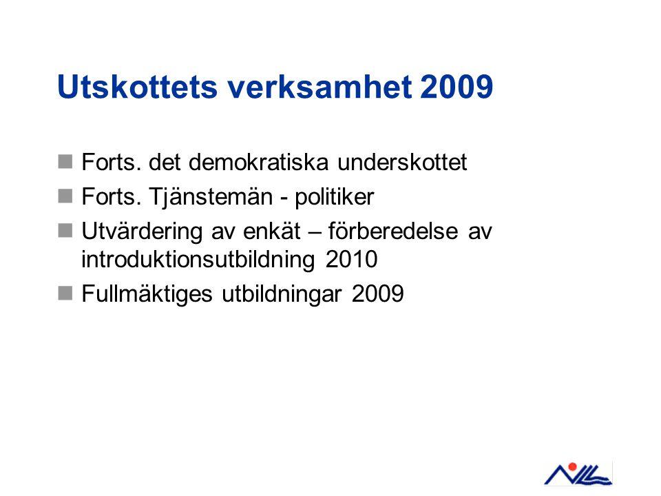 Utskottets verksamhet 2009 Forts. det demokratiska underskottet Forts.