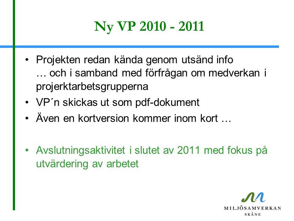 Ny VP 2010 - 2011 Projekten redan kända genom utsänd info … och i samband med förfrågan om medverkan i projerktarbetsgrupperna VP´n skickas ut som pdf-dokument Även en kortversion kommer inom kort … Avslutningsaktivitet i slutet av 2011 med fokus på utvärdering av arbetet