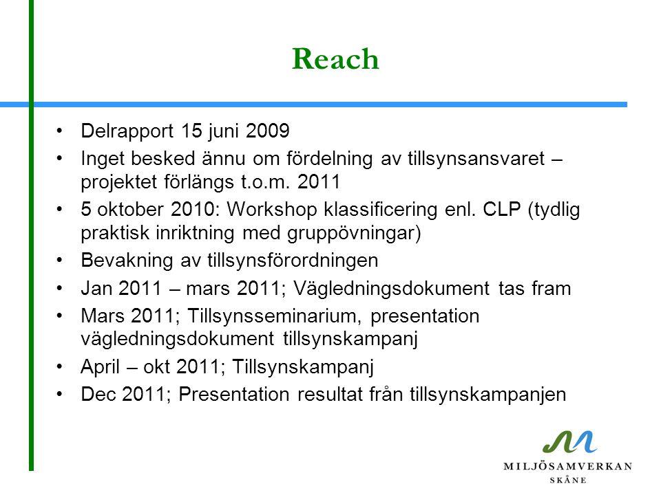 Reach Delrapport 15 juni 2009 Inget besked ännu om fördelning av tillsynsansvaret – projektet förlängs t.o.m. 2011 5 oktober 2010: Workshop klassifice