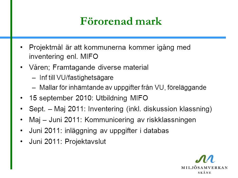 Förorenad mark Projektmål är att kommunerna kommer igång med inventering enl. MIFO Våren; Framtagande diverse material –Inf till VU/fastighetsägare –M