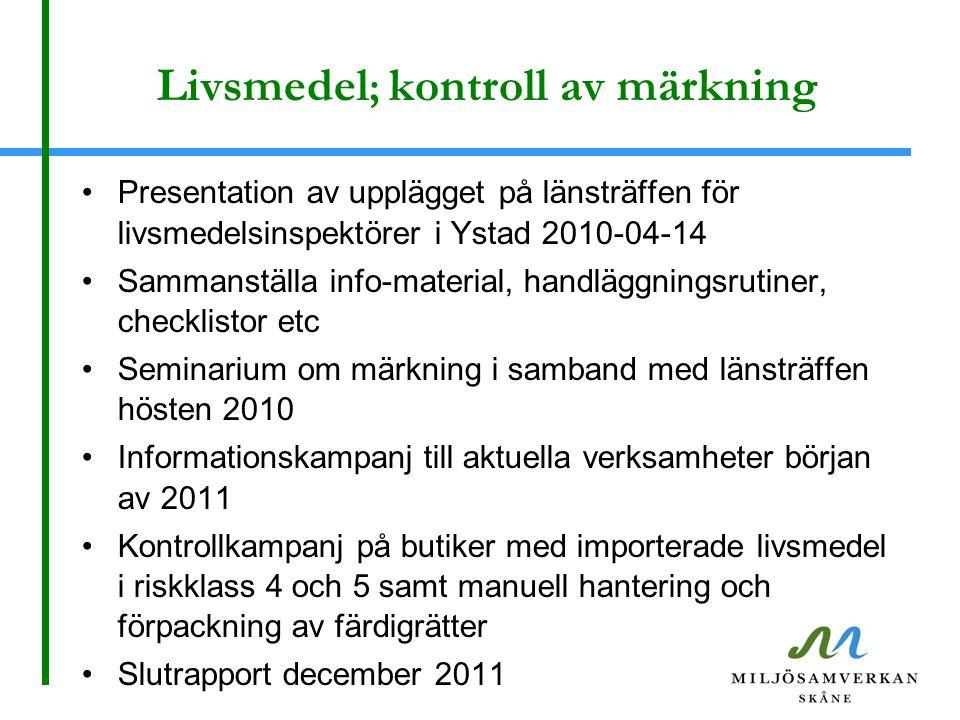 Livsmedel ; kontroll av märkning Presentation av upplägget på länsträffen för livsmedelsinspektörer i Ystad 2010-04-14 Sammanställa info-material, han