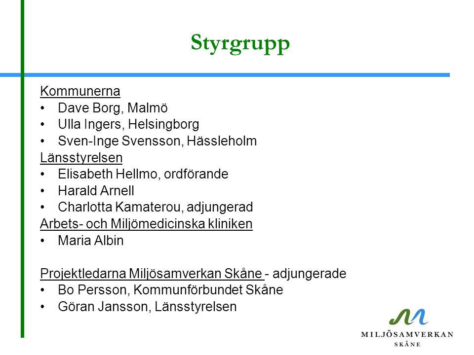Styrgrupp Kommunerna Dave Borg, Malmö Ulla Ingers, Helsingborg Sven-Inge Svensson, Hässleholm Länsstyrelsen Elisabeth Hellmo, ordförande Harald Arnell