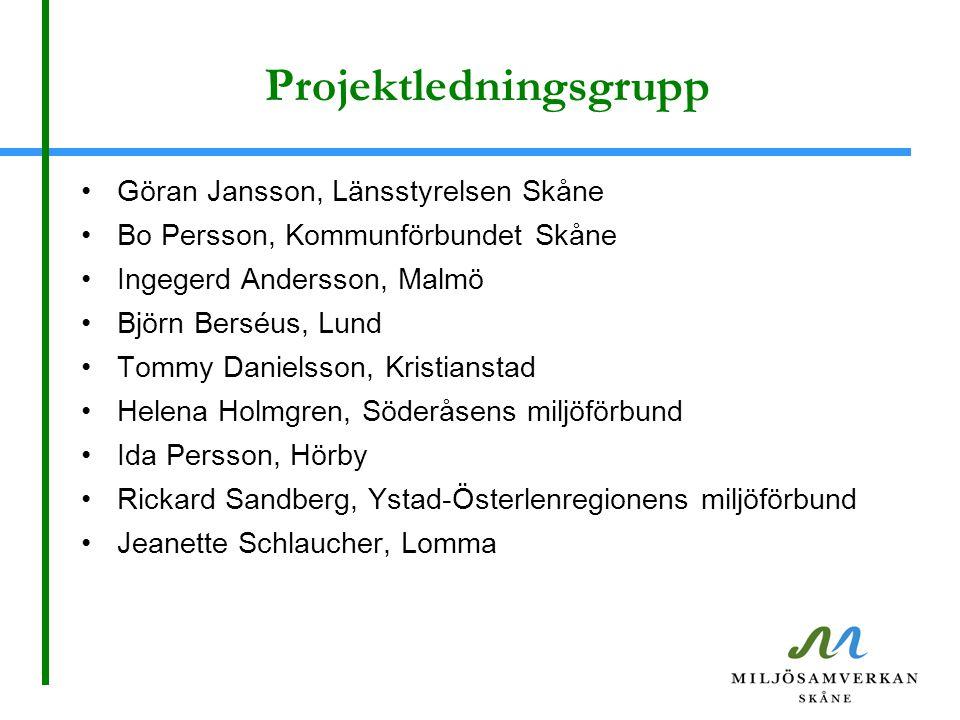 Projektledningsgrupp Göran Jansson, Länsstyrelsen Skåne Bo Persson, Kommunförbundet Skåne Ingegerd Andersson, Malmö Björn Berséus, Lund Tommy Danielss