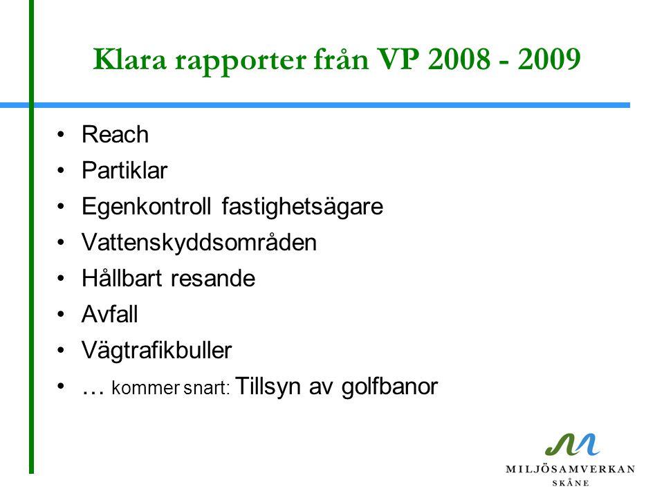 Klara rapporter från VP 2008 - 2009 Reach Partiklar Egenkontroll fastighetsägare Vattenskyddsområden Hållbart resande Avfall Vägtrafikbuller … kommer snart: Tillsyn av golfbanor