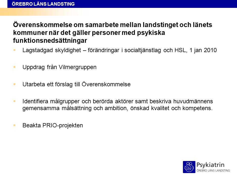 ÖREBRO LÄNS LANDSTING Överenskommelse om samarbete mellan landstinget och länets kommuner när det gäller personer med psykiska funktionsnedsättningar