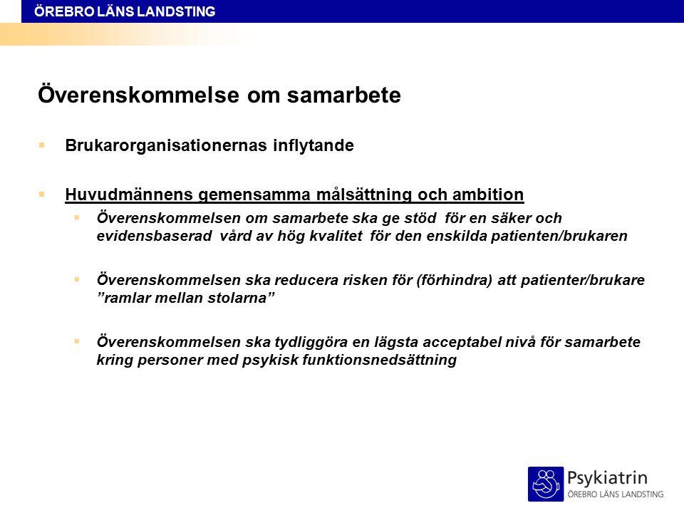ÖREBRO LÄNS LANDSTING Överenskommelse om samarbete  Brukarorganisationernas inflytande  Huvudmännens gemensamma målsättning och ambition  Överensko