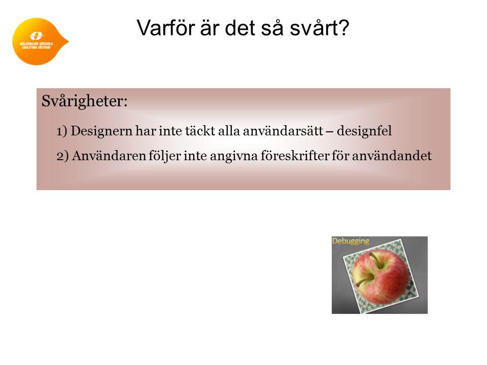 Svårigheter: 1) Designern har inte täckt alla användarsätt – designfel 2) Användaren följer inte angivna föreskrifter för användandet