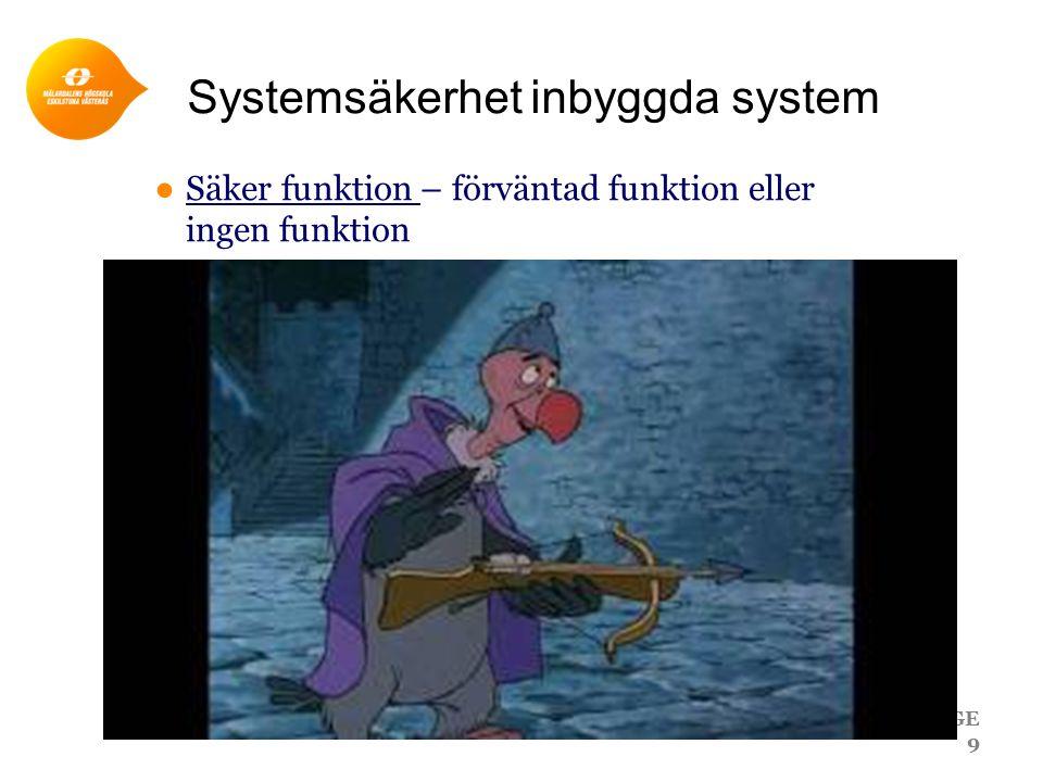 Systemsäkerhet inbyggda system ●Säker funktion – förväntad funktion eller ingen funktion PAGE 9