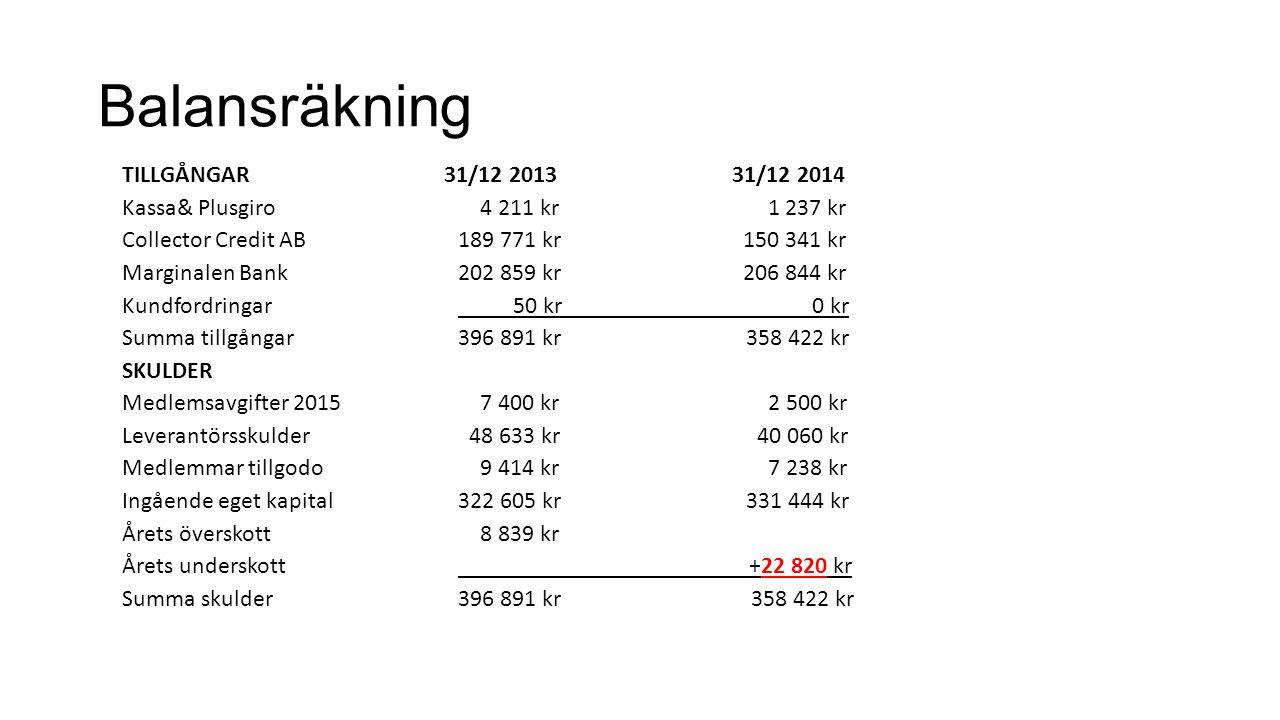 Balansräkning TILLGÅNGAR 31/12 2013 31/12 2014 Kassa& Plusgiro 4 211 kr 1 237 kr Collector Credit AB189 771 kr 150 341 kr Marginalen Bank202 859 kr 20