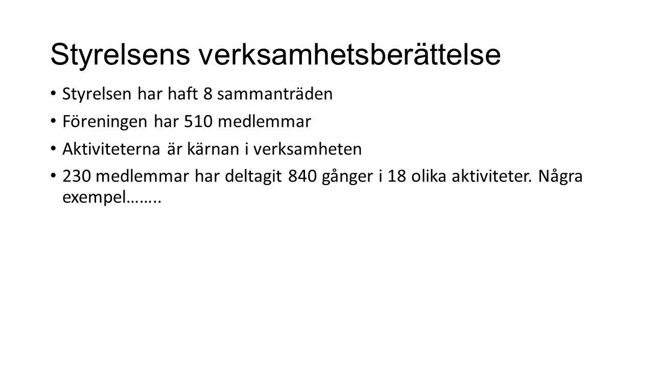 Styrelsens verksamhetsberättelse Styrelsen har haft 8 sammanträden Föreningen har 510 medlemmar Aktiviteterna är kärnan i verksamheten 230 medlemmar h