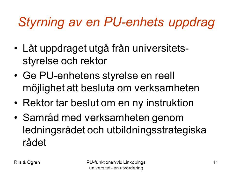 Riis & ÖgrenPU-funktionen vid Linköpings universitet - en utvärdering 11 Styrning av en PU-enhets uppdrag Låt uppdraget utgå från universitets- styrel