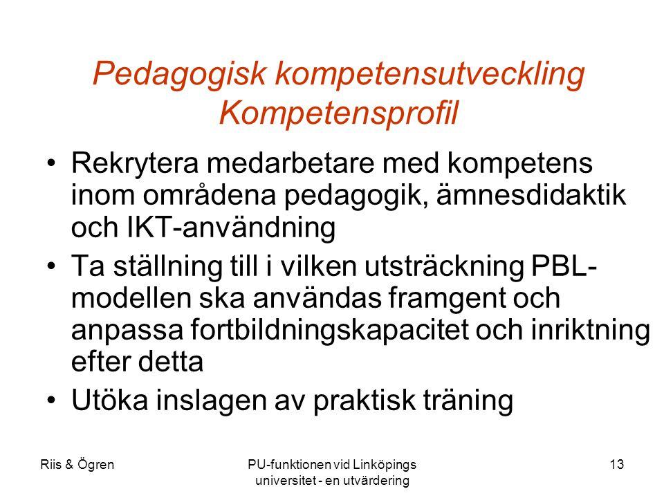 Riis & ÖgrenPU-funktionen vid Linköpings universitet - en utvärdering 13 Pedagogisk kompetensutveckling Kompetensprofil Rekrytera medarbetare med kompetens inom områdena pedagogik, ämnesdidaktik och IKT-användning Ta ställning till i vilken utsträckning PBL- modellen ska användas framgent och anpassa fortbildningskapacitet och inriktning efter detta Utöka inslagen av praktisk träning