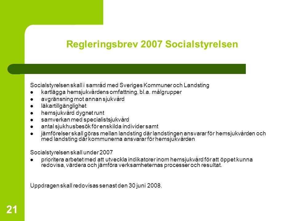 21 Regleringsbrev 2007 Socialstyrelsen Socialstyrelsen skall i samråd med Sveriges Kommuner och Landsting kartlägga hemsjukvårdens omfattning, bl.a. m