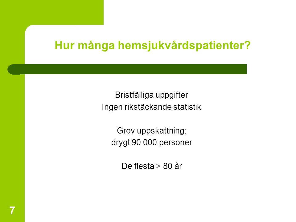 7 Hur många hemsjukvårdspatienter? Bristfälliga uppgifter Ingen rikstäckande statistik Grov uppskattning: drygt 90 000 personer De flesta > 80 år