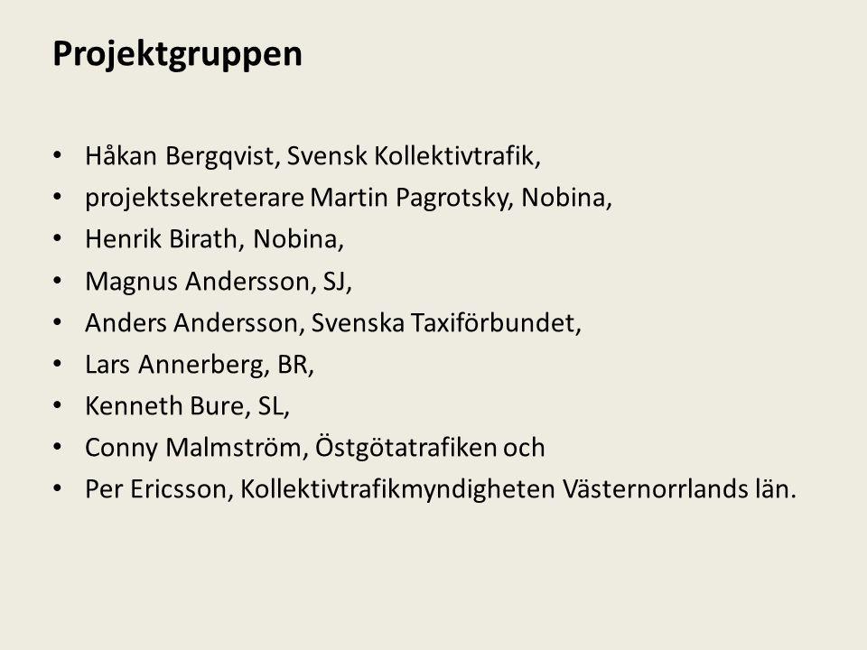 Projektgruppen Håkan Bergqvist, Svensk Kollektivtrafik, projektsekreterare Martin Pagrotsky, Nobina, Henrik Birath, Nobina, Magnus Andersson, SJ, Ande