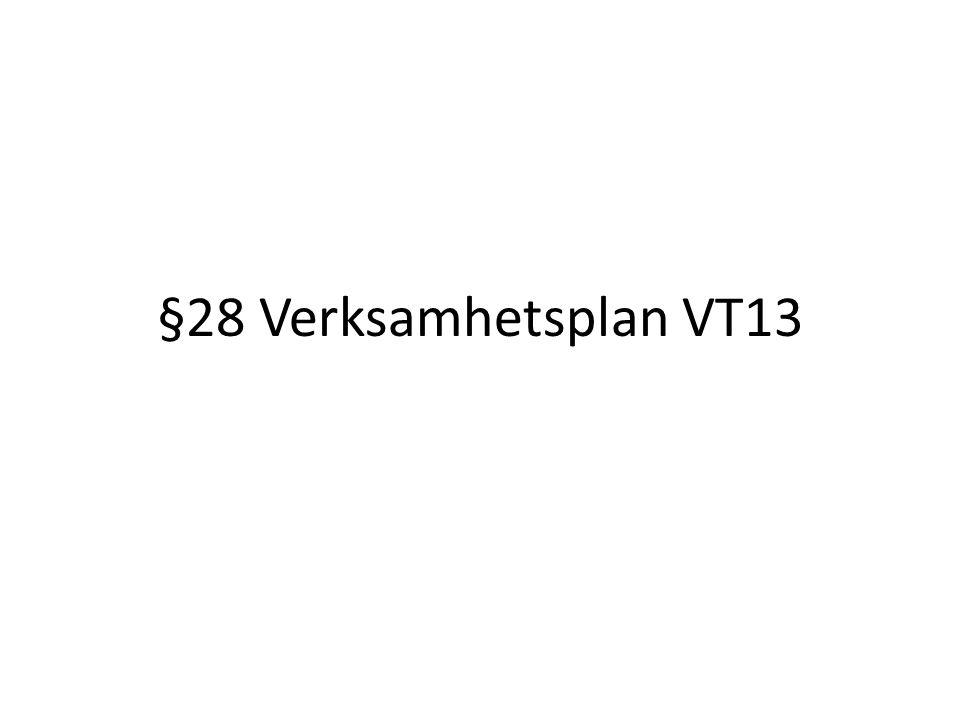 §28 Verksamhetsplan VT13