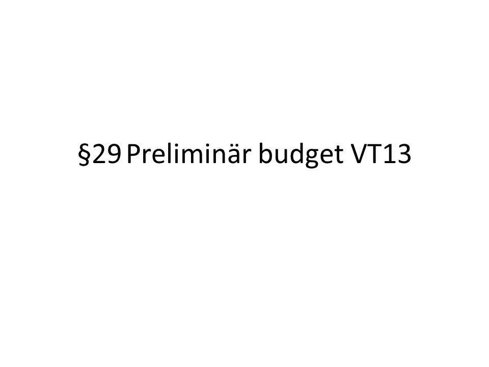 §29Preliminär budget VT13