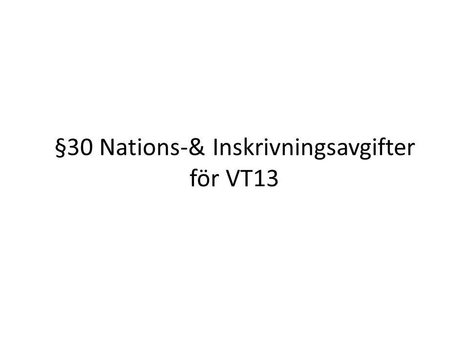 §30 Nations-& Inskrivningsavgifter för VT13